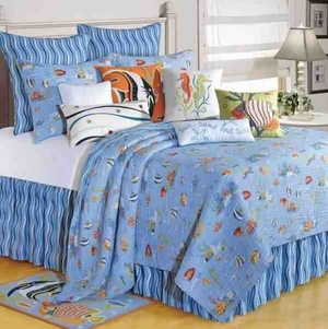 Oversized Twin Quilt - Luxury Reef Paradise Style Bed With Fish Brand C&F