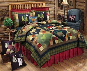 Oversized Twin Quilt - Luxury Timberline Wood Style Bedding Brand C&F