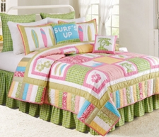 Oversized Twin Quilt - Luxury Tropical Surf Up Style Bed Brand C&F