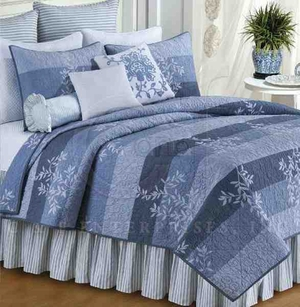 Oversized Twin Quilt - Misty Quilt With Mountain Blue Branches Brand C&F