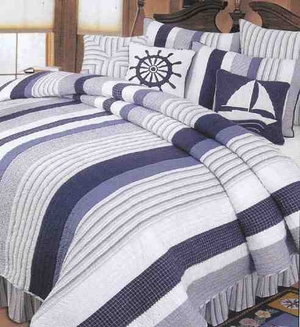Oversized Twin Quilt - Ocean Blue Luxury With Nantucket Dream Brand C&F