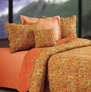 Oversized Twin Quilt - Warm Tangiers Sunset Style Luxury Bedding Brand C&F