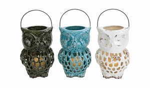 Owl Shaped Ceramic Blue Lantern with Stunning Modern Style Brand Woodland