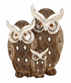 Table Top Polystone Owl Family  Statue - 54926 by Benzara