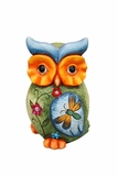 Owl Statue with Butterfly and Floral Detail in Front by Alpine Corp