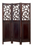 Oxford Floral Dark Cherry Wood Room Divider 3 Panel Screen Brand Woodland