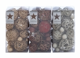 """Pack of 3 Christmas Decor Dried Natural Balls Assorted 8""""H, 4""""W by Woodland Import"""