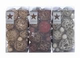 "Pack of 3 Christmas Decor Dried Natural Balls Assorted 8""H, 4""W by Woodland Import"