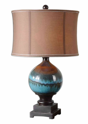 Padula Ceramic Table Lamp with Detailing in Black Brand Uttermost