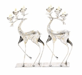 "Pair of 2 Metal Reindeer w/ Candle Holder Antlers 12""W, 25""H by Woodland Import"