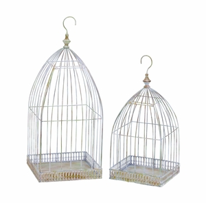 Pair of Antique Victorian Bird Cage Style Hanging Planters Brand Woodland