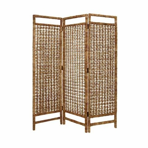 Palm Square Weave 3 Panel Screen with Vertical Bamboo Stalks Brand Screen Gem