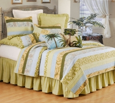 Palm Stripes Tropical Cotton Quilt Luxury Twin  Bedding Ensembles Brand C&F