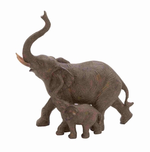 Pamplona Big And Baby Elephant Pair Ornamental Artwork Brand Benzara
