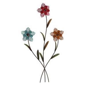 Walldecorative Three Metal Wall Flower With Red, Blue And Yellow Shade - 35098 by Benzara
