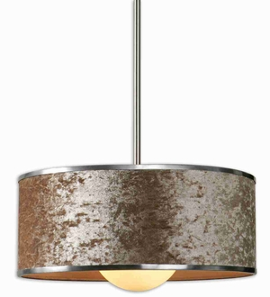 Panache 1 Light Drum Pendant Lamp With Velvet and Nickle Brand Uttermost