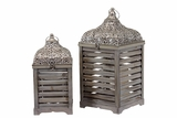 Paneled Wooden / Metal Lantern Set of Two w/ Beautifully Crafted Metallic Roof