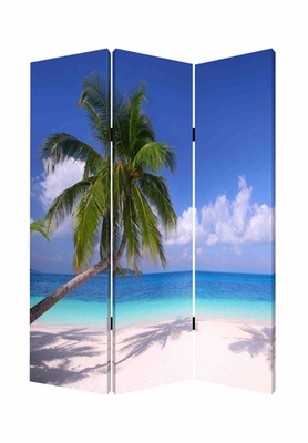 Paradise Screen, 3 Panel Canvas Screen, 48 Inch L X 72 Inch H Brand Screen Gems