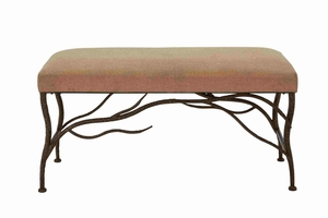 Lattice Styled Buckingham Fabric Seated Metallic Bench - 54329 by Benzara