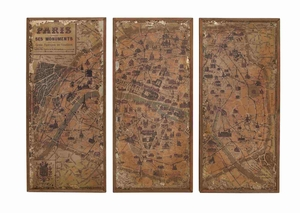 Paris Old Monumental Wall Panel Decor Set Brand Benzara
