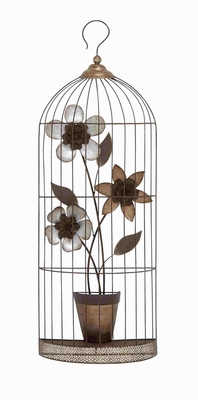 Paris Styled Lattice Metallic Wall D�cor Flower Pot in a Cage Brand Benzara