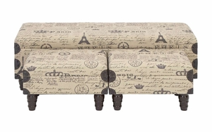 Parisian Soft Fabric Bench Set - Attractive Multi-Use Bench - Set of 3 Brand Woodland