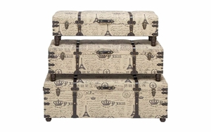 Parisian Storage Bench Set With Multi-Use Storage - Set of 3 Brand Woodland
