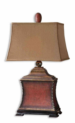 Pavia Red Table Lamp with Intricate Detailing Brand Uttermost