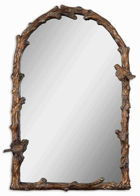 Paza Antique Mirror with Distressed Gold Leaf Glaze Frame Brand Uttermost