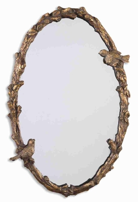 Paza Bird and Vine Mirror with Distressed Gold and Gray Glaze Brand Uttermost