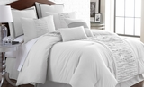 Marilyn Queen Size Linen Comforter Set of Eight Pieces in Grey
