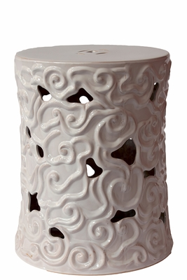 Peaceful Alluring Ceramic Garden Stool White by Urban Trends Collection