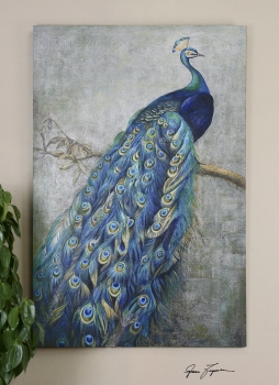 Peacock Artwork Hand Painting With Magnificent Colored Feathers Brand Uttermost