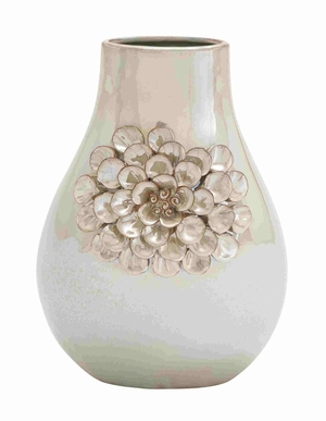 Pear Shaped Elegant and Glossy Floral Design Vase Brand Benzara