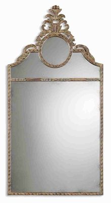 Peggy Arched Mirror with Mahogany and Chestnut Brown Finish Brand Uttermost