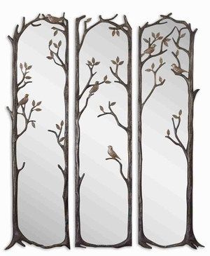 Perching Birds Mirror Set with Burnished Silver Leaf Finish Brand Uttermost