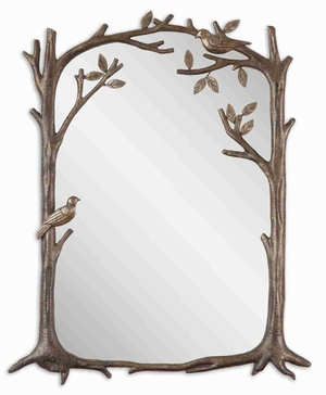Perching Birds Small Mirror with Burnished Silver Leaf Finish Brand Uttermost