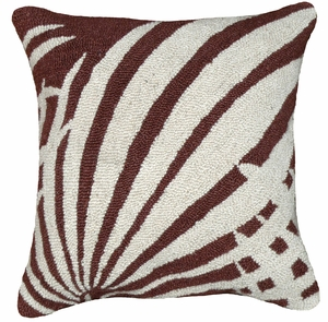 """Perfect Palm Leaf Brown Hooked Pillow 16x16"""" by 123 Creations"""
