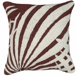 "Perfect Palm Leaf Brown Hooked Pillow 16x16"" by 123 Creations"
