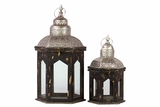 Persian Style Wooden Lantern Set of Two in Antique Black Finish w/ Dome Shaped Roofs
