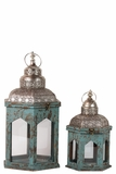 Persian Style Wooden Lantern Set of Two in Antique Blue Finish w/ Dome Shaped Roofs