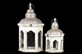 Persian Style Wooden Lantern Set of Two in Antique White Finish w/ Dome Shaped Roofs