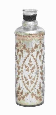 Petite and Attractive Glass Bottle in Brown and White Pattern Brand Woodland