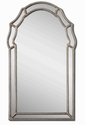 Petrizzi Vanity Mirror with Antique Silver Inner and Outer Frame Brand Uttermost