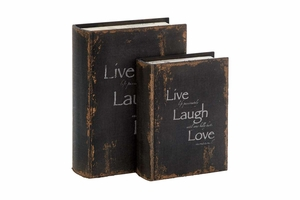 Philosophical Wood Book Box, Set/2 10 Inch x 8 Inch Brand Woodland
