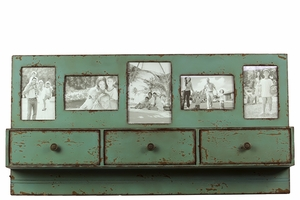 Picture Themed Mesmerizing Green Colored Fancy Wooden Shelf