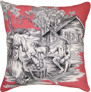 Picturesque Country Toile-Pink/Black Needlepoint Pillow by 123 Creations