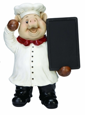 Pig Fat Chef with Chalk Menu Sign Board, Resin Chef Statue Board Brand Woodland