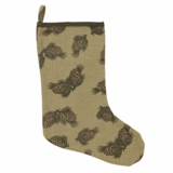 Pine Cone Stocking Printed Burlap 11x15