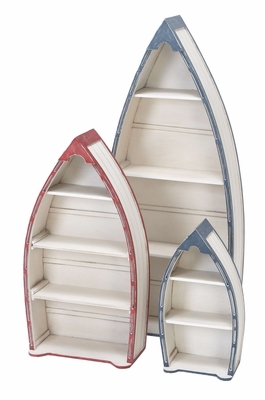 Pinewood Boat Shelf in Classic Colours of the Sea - Set Of 3 Brand Woodland